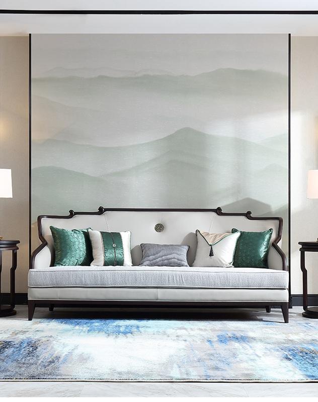 新中式真皮布艺沙发