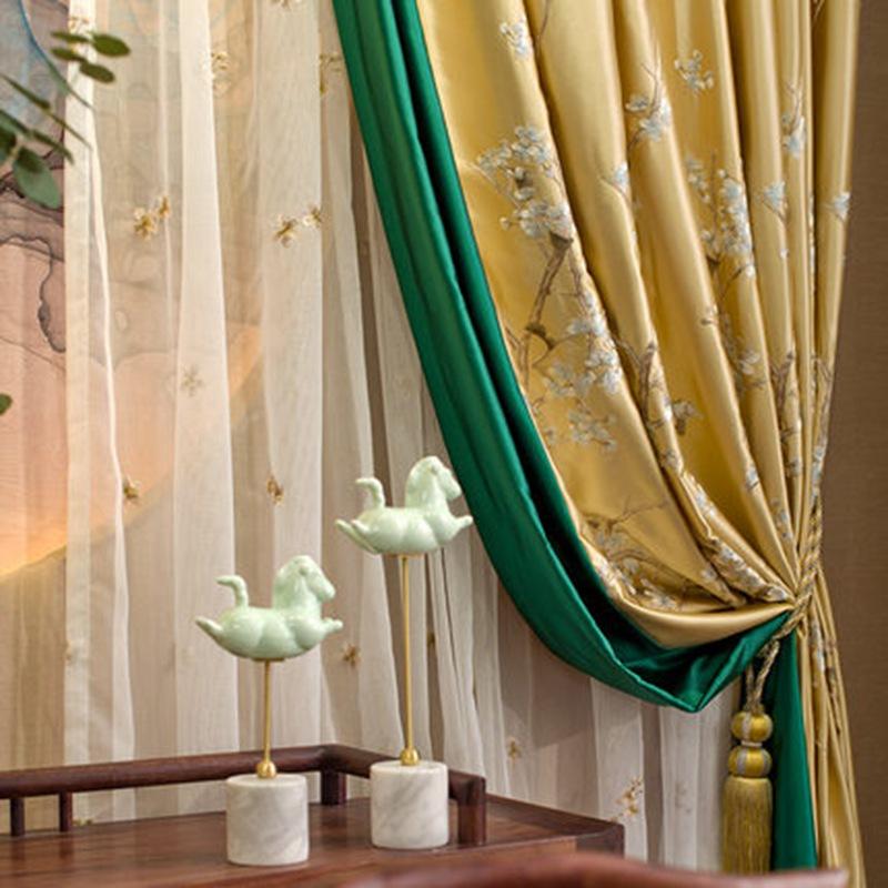 新中式绣花窗帘