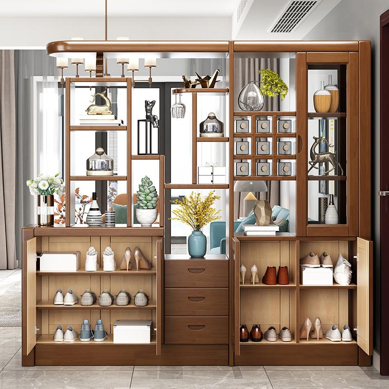 实木酒柜客厅玄关柜储物柜一体定制家具